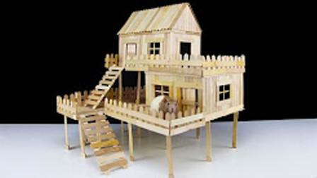 雪糕棒制作的别墅能住?里面设备齐全,这是小仓鼠的新家!