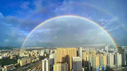 美爆了!广州雨后天空现双彩虹 和七彩祥云交相辉映