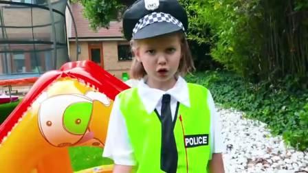美国儿童时尚,小萝莉变身交警管理交通