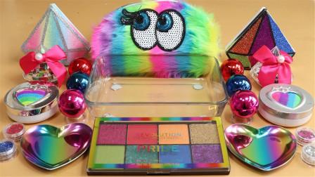五彩毛毛虫,混合彩虹眼影无硼砂泥,效果解压,太美了