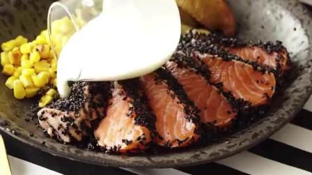 精致的日式美食,烤黑芝麻三文鱼