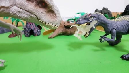玩具异特龙大闹恐龙公园被白色暴龙狠狠教训.mp4