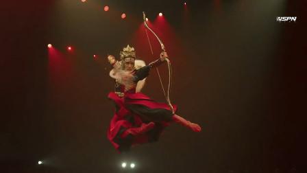 中国舞《五虎将》,胡阳的风格,很特别的吊腰吸翻和旋子!