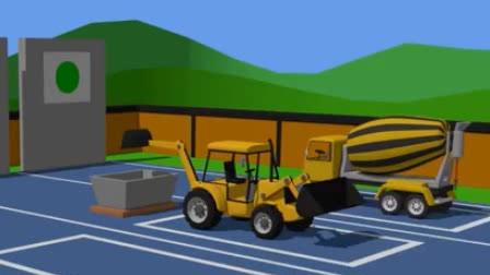 儿童工程车动画 水泥搅拌车挖掘机翻斗车铲车压路机工作表演