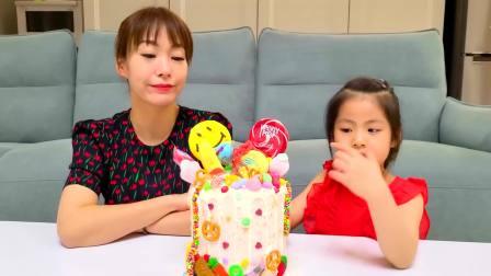美国儿童时尚,妈妈给小萝莉制作了生日蛋糕