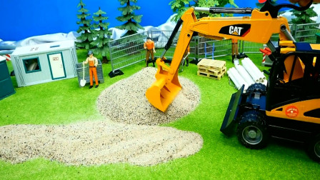 汽车玩具视频 各种工程车铲车挖掘机推土机模拟工作