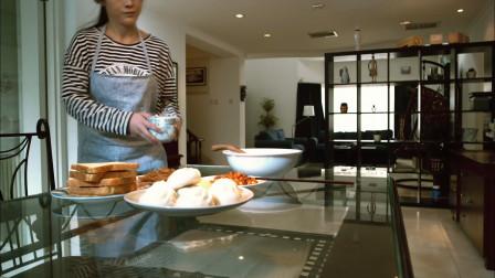 看女主人做饭真有食欲,大包子加吐司,我都看馋了!
