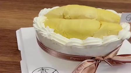 广东小姐妹给我定的榴莲蛋糕,榴莲给的也太实在!