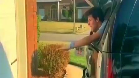"""监控:美国女司机倒车,看纽约小哥满满的""""求生欲""""真是太搞笑了!"""