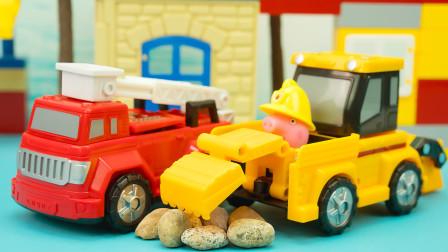 变形汽车玩具,大号翻转变形消防车和挖掘机