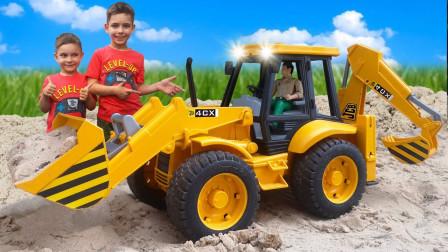 超厉害!萌宝小正太在哪里发现了挖掘机?它能帮助工程车工作吗?