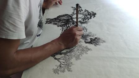 初中文化,自学画画的农民,这水墨画的水平你觉得怎样?