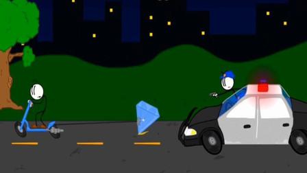 火柴人进入博物馆找钻石遇到了警察怎么办?