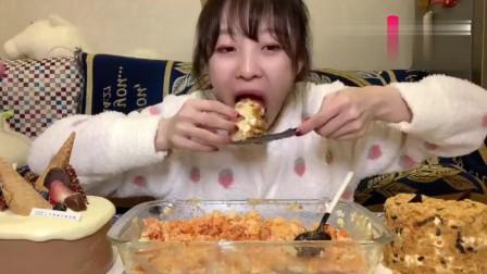 大胃王mini吃番茄芝士焗饭,还有颜值爆炸的小蛋糕