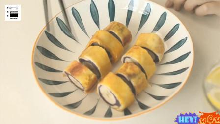 紫薯和吐司能做成什么?紫薯香蕉吐司卷,又香又糯的早餐出锅啦