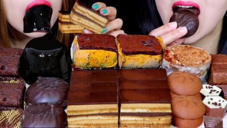"""韩国ASMR吃播:""""布朗尼冰淇淋+咖啡果冻+巧克力棉花糖+提拉米苏+巧克力松露"""",听这咀嚼音,吃货姐妹花吃得真香"""