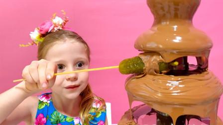 萌宝玩具故事:真皮!小萝莉用巧克力酱在做什么美食?