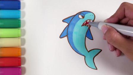 儿歌多多动物简笔画 鯊魚 海中霸主有多厉害 学画可怕海洋动物
