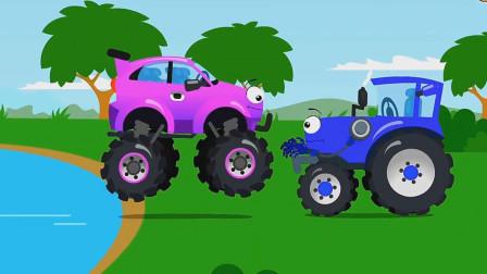 误打误撞的越野车惹怒了拖拉机,可是拖拉机依然还是救了越野车!汽车总动员游戏