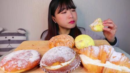美食吃播:椰子面包、甜番薯奶油面包球、奶油夹心可颂、奶油夹心咖啡面包