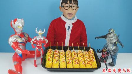 小泽和奥特曼分享吃香喷喷的热狗棒,抹上沙拉酱和番茄酱后很好吃
