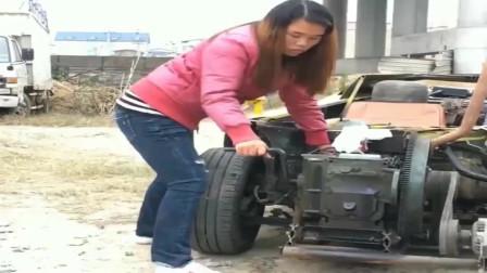 牛人发明:河南妹子的改装车,这车太霸气了,车门是全自动的