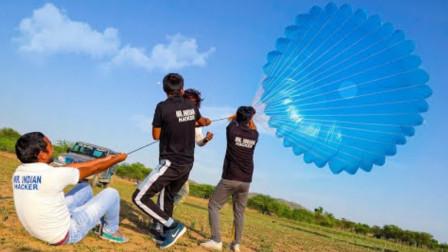老外突发奇想,自制了一个印度最大降落伞,真的能上天吗?