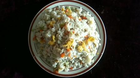 乡村懒人做法鸡蛋炒米饭,饭粒饱满葱蛋飘香,美味又营养