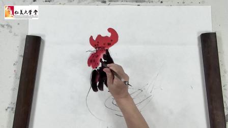 国画十二生肖:五彩公鸡的画法,威风凛凛,孩子肯定喜欢!学习!
