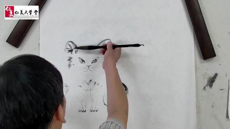 国画教学:写意水墨大猫的画法,骄傲冷艳,孩子也能学,收藏学习