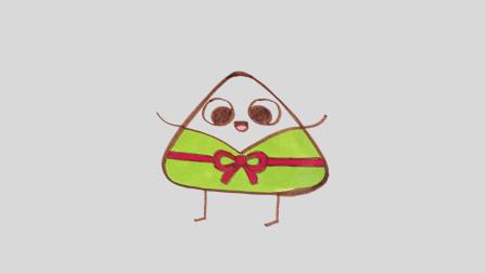 多多学画画 儿童简笔画 端午吃粽子 妈妈包粽子宝宝学画美味粽子