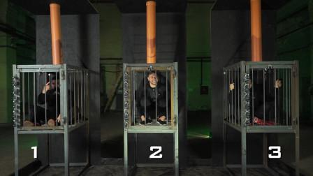 关在铁笼里24小时是啥感受?小伙三人作死体验,最后一个太惨了