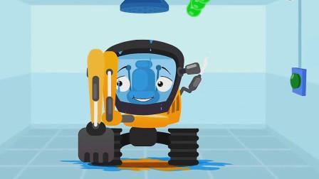 满脸橘子的挖掘机洗完澡整个心情都不一样了!汽车总动员游戏