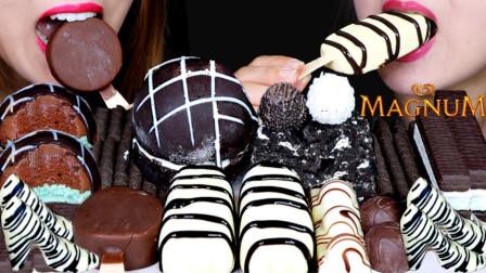 """韩国ASMR吃播:""""梦龙冰淇淋雪糕+奥利奥芝士蛋糕+可食用高跟鞋+费列罗巧克力"""",听这咀嚼音,吃货姐妹花吃得真香"""