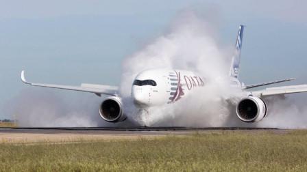 飞机在暴风雨中试图强行降落,机身被吹得左右摇晃,画面太可怕了
