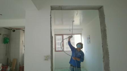 装修时墙顶面做乳胶漆的最多,喷涂工艺虽废料,但漆面均匀效果好