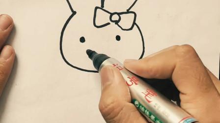 如何画一副萌萌的兔子简笔画