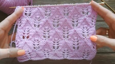 漂亮的平面花样,织毛衣秀雅文气,一款菱形镂空小草针编织教程