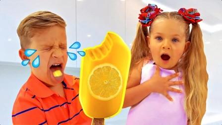 美国儿童时尚,小萝莉小正太假装在卖冰淇淋
