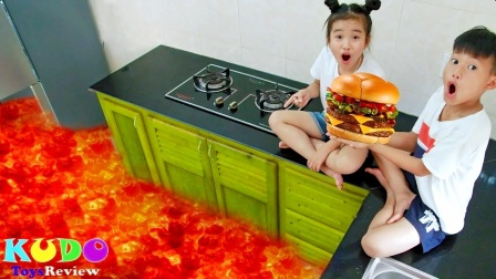 美国儿童时尚,熔岩上烤面包片汉堡包,太搞怪了