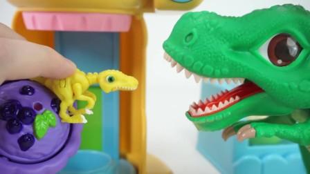 霸王龙把躲在各处小恐龙们吞下肚变成恐龙蛋.mp4