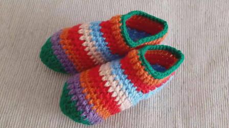 「钩针编织」简单又漂亮的彩色袜套!