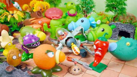 植物大战僵尸玩具:僵尸鸡守护者被植物毁掉,僵尸博士却不害怕