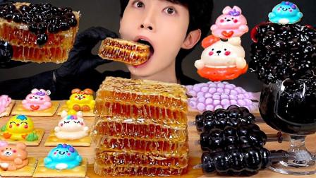 小伙挑战2斤蜂巢蜜,搭配可爱的甜点饼干,感觉萌萌哒