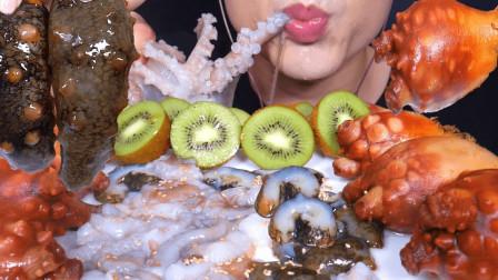 """韩国ASMR吃播:""""海参刺身+海鞘刺身+活章鱼生鱼片"""",听这咀嚼音,吃货欧尼吃得真馋人"""