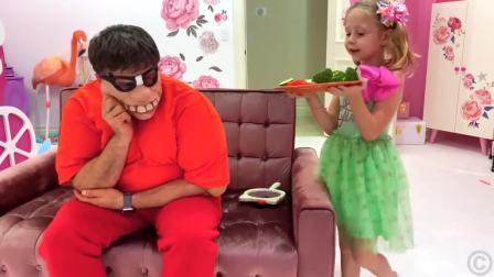国外儿童时尚,萌宝小萝莉和爸爸分享美味的早餐,好厉害呀
