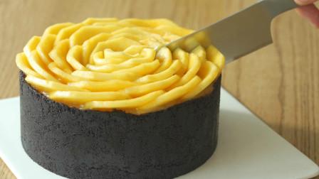 超简单的芒果芝士蛋糕教程!不用烤箱,咬一口能吃出4种口味哦!