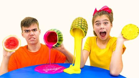 """史莱姆兄妹创意DIY!制作出""""水果味""""史莱姆,网友:真会玩!"""