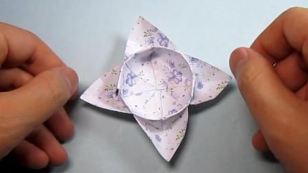 手工折纸,花朵收纳盒的简易折法,好看又实用
