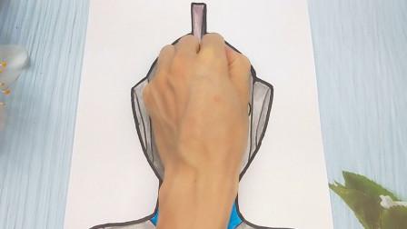 只需手掌放在一张纸手绘高斯奥特曼,简单画法又帅气的手势画